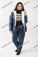 Утепленный спортивный костюм с меховой подкладкой, синего цвета