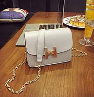 Стильная женская маленькая сумка серого цвета в стиле Hermes