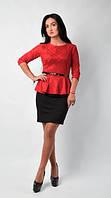 Элегантное платье из комфортной приталенной блузочки баской и аккуратной юбки карандаш, фото 1