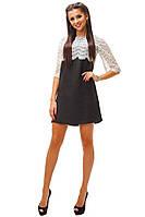 Нежное черное платье с белым кружевом . Арт-8733/74