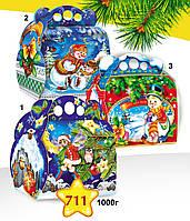 """Новогодняя упаковка 711 """"Снеговик"""", """"Зима в лесу - пингвин"""""""