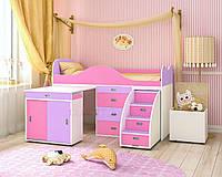 """Кровать чердак """" Горка"""" розовая с лавандой и белым"""