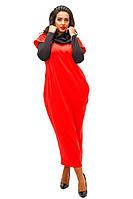"""Красивое коралловое платье""""Кокон"""", батал, с хомутом и рукавами. Арт-8736/74"""