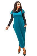 """Красивое бирюзовое платье""""Кокон"""", батал, с хомутом и рукавами. Арт-8736/74"""