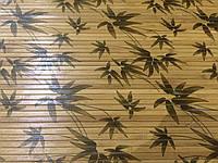 """Бамбуковые обои """"листья бамбука"""" коричневые лак.матовый, ширина 150 см"""