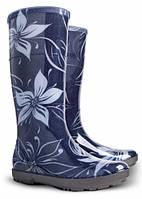Резиновые сапоги Demar женские р.36-41 HAWAI LADY EXCLUSIVE Цветы сине-серый цвет