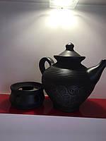 """Чайник керамічний з підставкою для підігріву 1.8 л""""Чорна кераміка"""""""