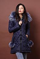 Зимняя женская молодежная куртка. Код К-79-36-17. Цвет синий.