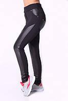 Черные женские лосины с вставками из эко-кожи