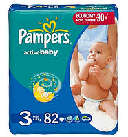 Подгузники Pampers Midi Active Baby DRY (Памперс) 4-9кг, №82