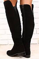 Черные, замшевые сапоги без каблука, демисезонные