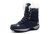 Кроссовки женские Adidas, зимние, высокие, на меху, темно-синие, р. 37 38 39 40 41