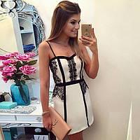 Платье короткое с дорогим ажуром Zara на тонких бретелях