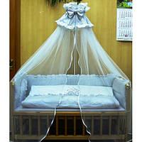 Балдахин фатин с бантом для детской кровати.