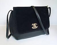 Женский клатч реплика Chanel с замшевой вставкой черного цвета