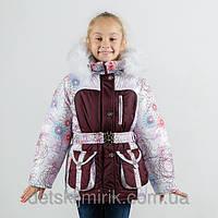 """Зимнее куртка для девочки """"Ажур"""", белый+шоколад"""