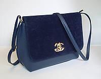 Женский клатч реплика Chanel с замшевой вставкой синего цвета