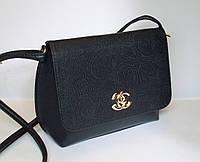 Женский клатч реплика Chanel с цветочным орнаментом черного цвета