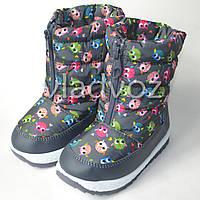 Модные дутики на зиму для девочки сапоги серые 27р. совушки