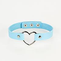 Кожаный ошейник - чокер с сердцем голубой