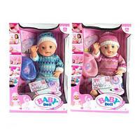Пупс Baby Doll 1710С, ест, пьет, ходит на горшок, 9 предметов-аксессуаров, коробка 38*33см