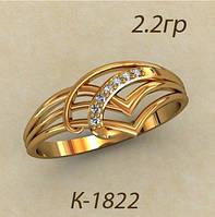 Нежное золотое колечко 585* пробы из красного золота с Фианитами