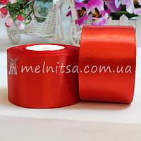 Атласная лента 5 см, №26 красный, рулон 23 м