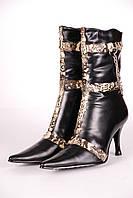 Сапоги женские 926-3 BL wool кожаные черные.
