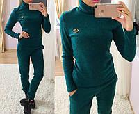 """Эффектный женский трикотажный костюм """"GUCCI"""" (брюки и кофта с воротником гольф, длинные рукав) РАЗНЫЕ ЦВЕТА!"""