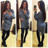 """Молодежное платье-свитер """"Машинная вязка, модный декор""""  фабричный Китай! РАЗНЫЕ ЦВЕТА"""