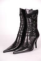 Сапоги женские М375502-1 кожаные черные