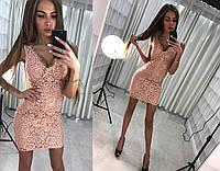 Шикарное вечернее платье (нежное кружево персикового цвета, глубокое декольте, длина мини)
