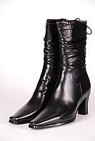 Сапоги женские 843-1 кожаные черные