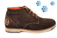 Ботинки зимние мужские замшевые TOP HOLE   коричневые