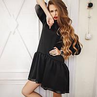 Короткое платье с отрезной расклешенной юбкой с кожаной отделкой