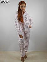 Женская пижама махровая в горошек 42-46