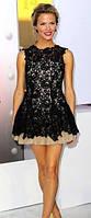 Эксклюзивное короткое гипюровое платье с фатином