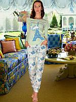 Пижама (кофта и брюки) (Зеленый, белый)