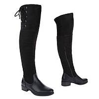Женские ботфорты на низком ходу сочетанием под кожу и замш H602-black