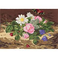 Набор для вышивки крестом Panna Ц-0420 Букет цветов с бабочкой
