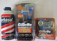 Набор Gillette Fusion ProGlide Styler 3-in-1 + 4 картриджа  Gillette Fusion ProGlide Power + пена Barbasol США
