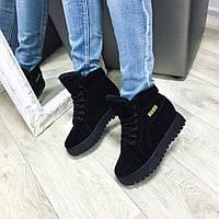 Ботинки женские Puma на меху черные, зимняя обувь