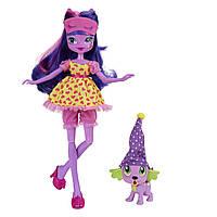 Куклы и пупсы «My Little Pony Equestria Girls» (B1070) кукла Сумеречная Искорка (Twilight Sparkle) с щенком в фиолетовом колпаке , 23 см