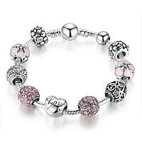 Женский розовый браслет Pandora (Пандора) «11 друзей Оушена»