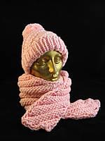 Шапка и шарф, детский вязаный комплект, ручная работа