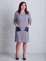 Стильное женское платье с карманами из эко кожи