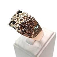 Золотая мужская печатка Лев с фианитами и ониксом