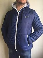 Зимняя мужская куртка Nike, короткая, цвет - синий, сезон - осень-зима