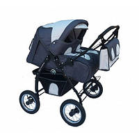 Детская универсальная коляска для двойни Verdi Bajtek, не поворотные колеса, графит/серый
