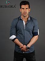 Молодежная мужская рубашка серая с синими и белыми вставками